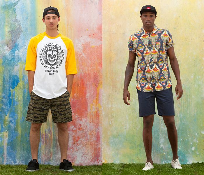 ccb8aa786199 (4a) TF Cargo Shorts Camouflage Pattern - (4b) Kasbah Woven Print Shirt -  OBEY Clothing 2013 Summer Mens Lookbook