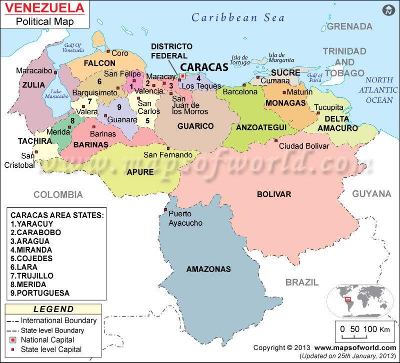 Political Map Of Venezuela De Venezuela Pinterest Venezuela - Map of venezuela south america