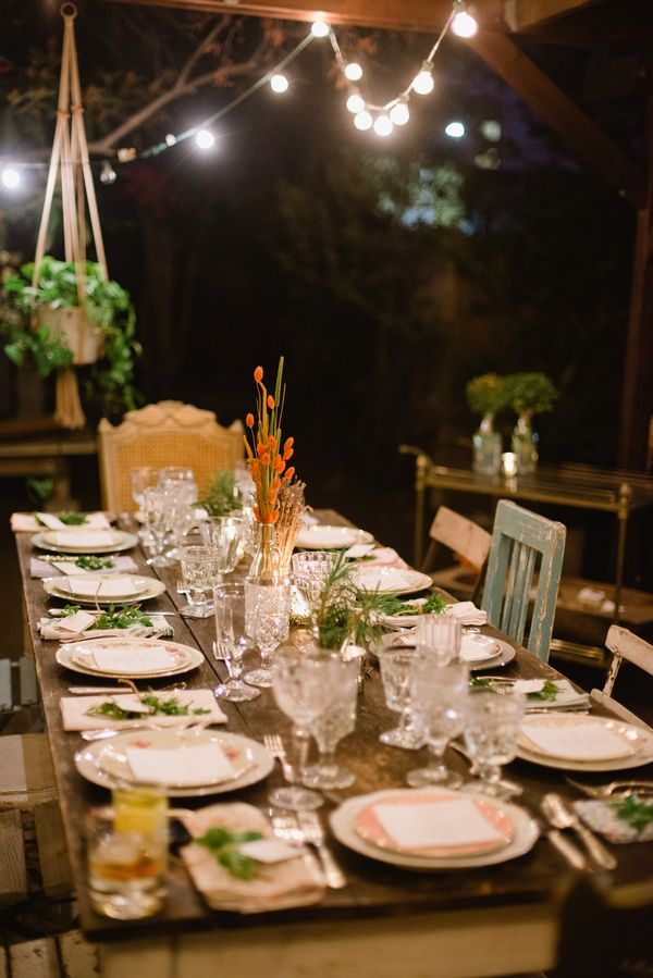 Sustainable Dinner Party Inspiration Hunt And Gather Backyard Cafe Lights Mix Match Chairs Vintage Glware