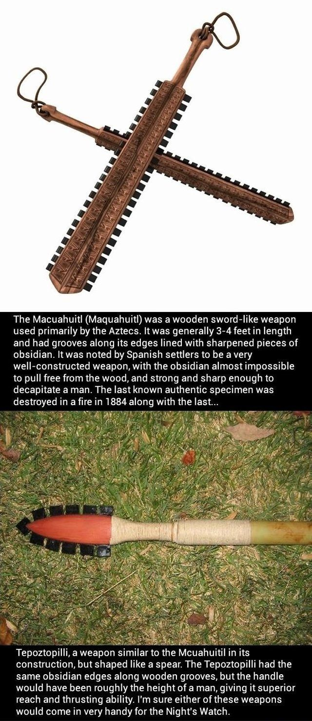 aztec sword and spear armor and weapons pinterest