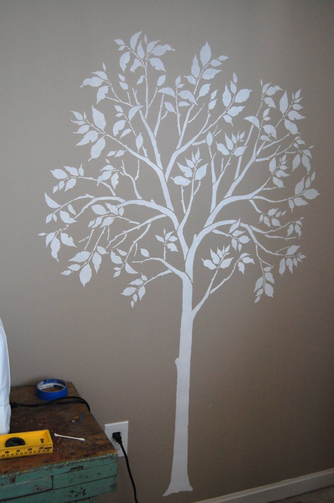 image detail for -the large tree stencil comes with a separate bird