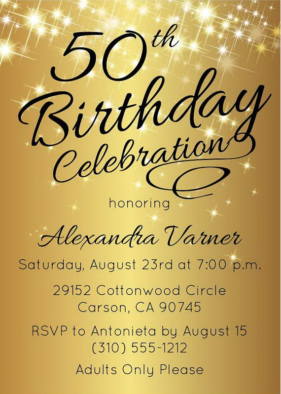 50th birthday invitation • printable gold stars surprise 50th, Birthday invitations