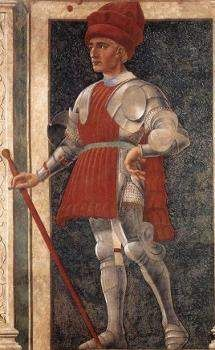 The condottiere Farinata degli Uberti in a mural by Andrea del Castagno in the refectory in Sant' Apollonia In Florence. Completed about 1455, the mural shows Uberti wearing a combination of plate and mail armour but with a civilian hat rather than a helmet.