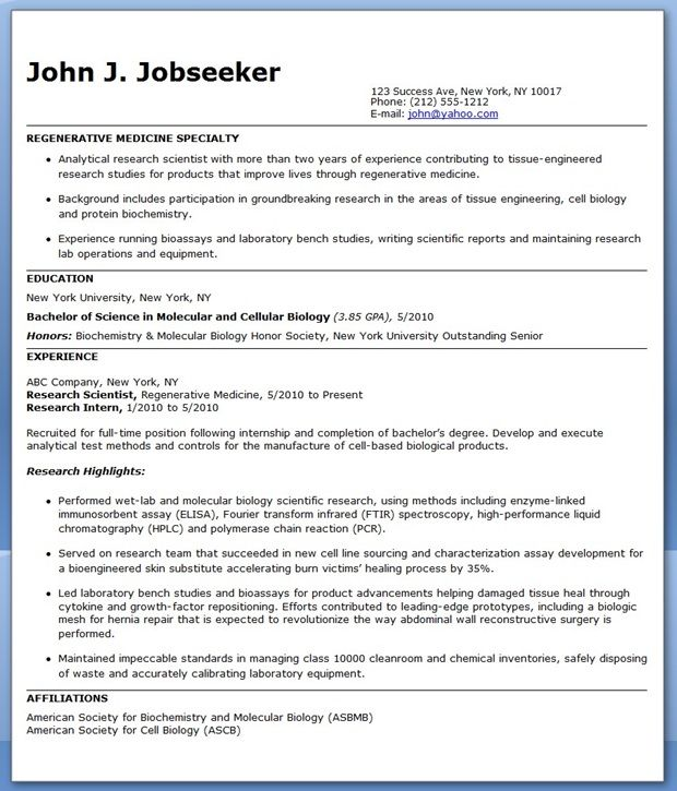 Entry Level Research Scientist Resume Sample | Creative Resume