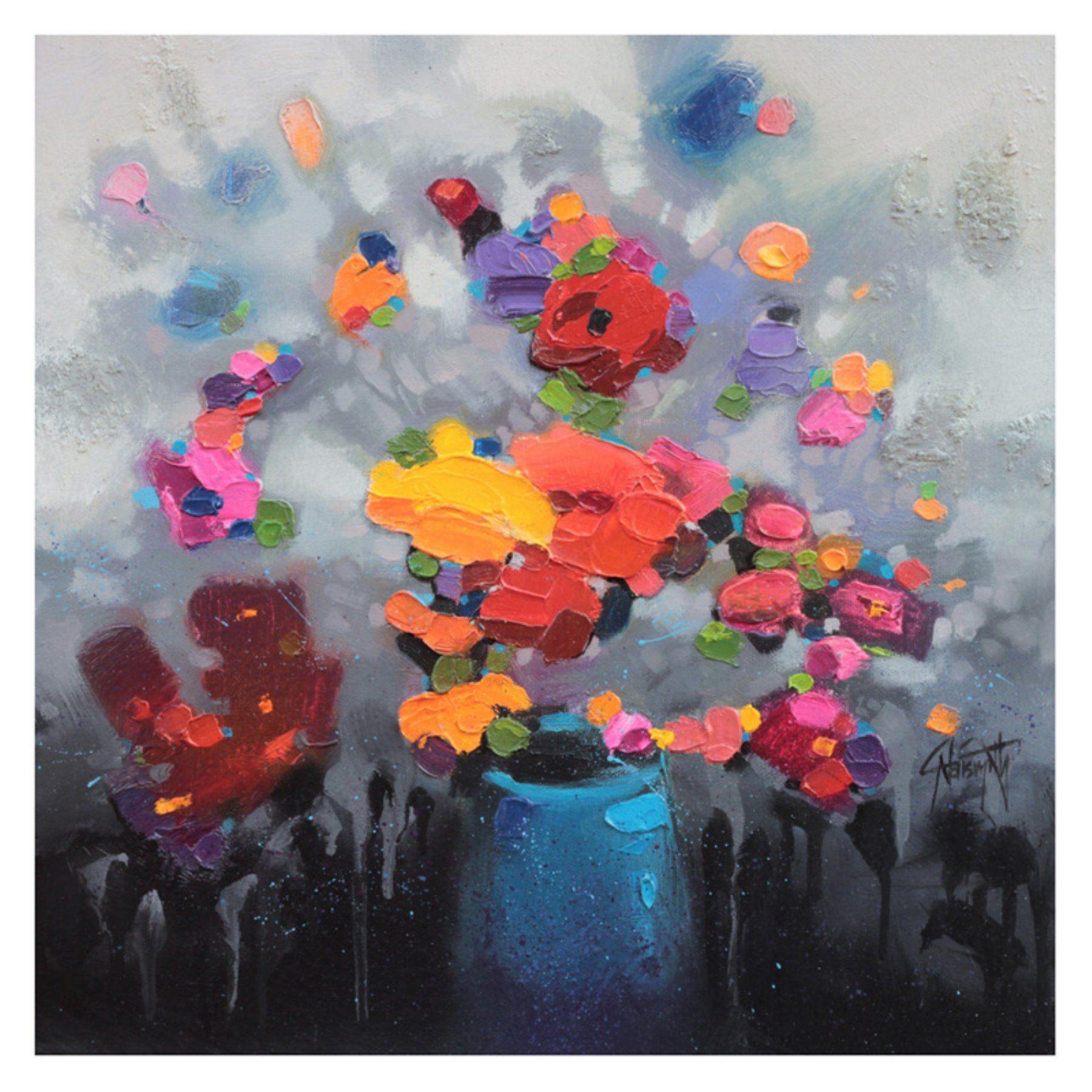 Artmaison canada blue flower vase wall art by scott naismith