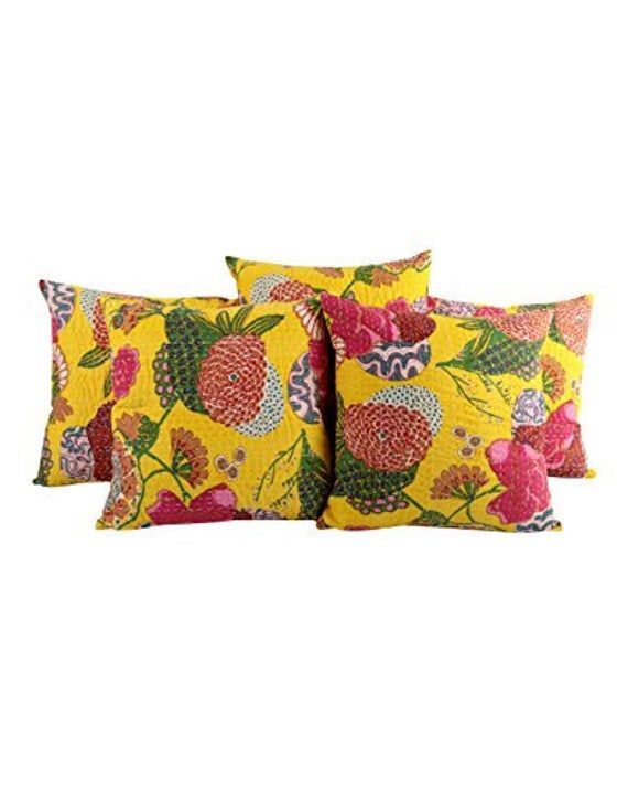 16x16 Inches Extra Large Yellow Floor Cushion Covers Indian Etsy Indian Pillows Kantha Cushions Couch Throw Pillows