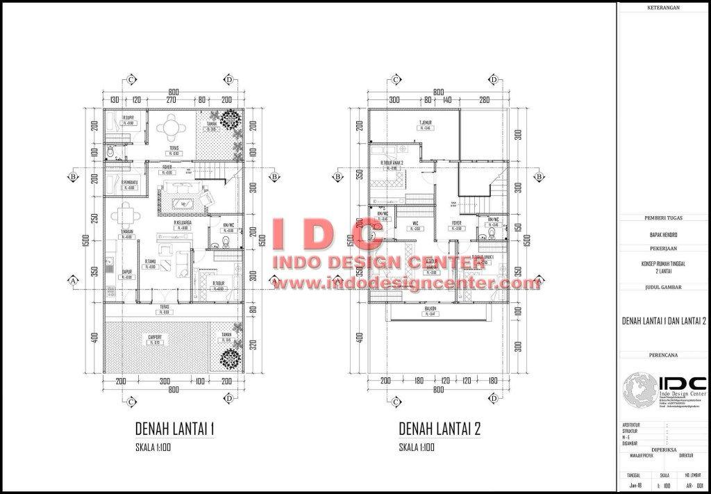 Contoh Gambar Kerja Lengkap Rumah Minimalis 2 Lantai Lantai Denah Lantai Rumah Minimalis