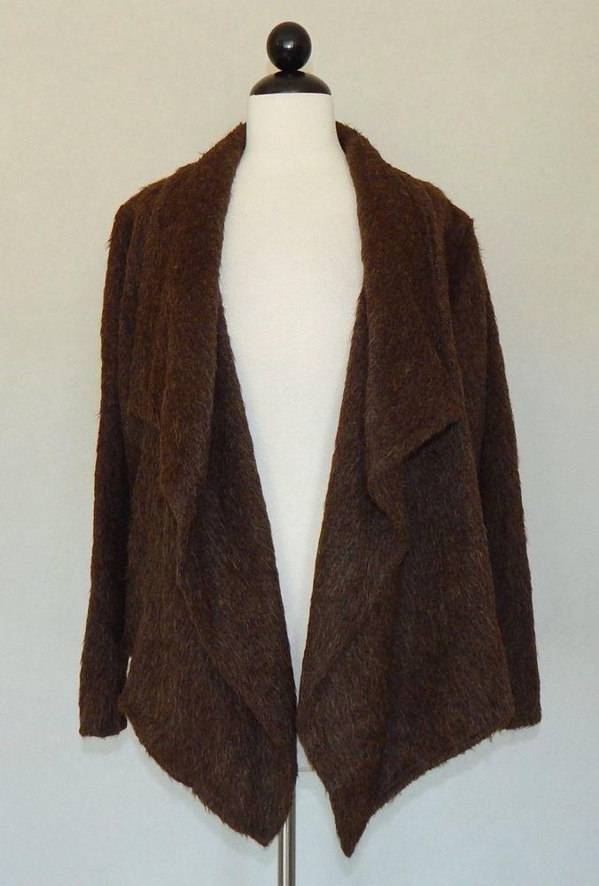 PERUVIAN CONNECTION Brown Suri Alpaca Knit Open Front Cardigan ...