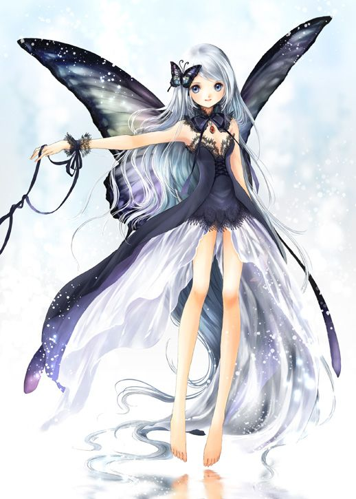 Black Butterfly Fairy Princess With Long White Hair Lavender Blue