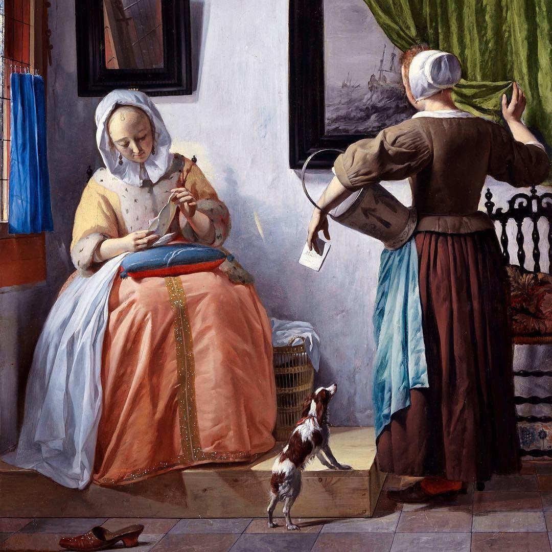 gabriel metsu jeune fille recevant une lettre 1662 1665 encore une uvre hollandaise ce qui. Black Bedroom Furniture Sets. Home Design Ideas