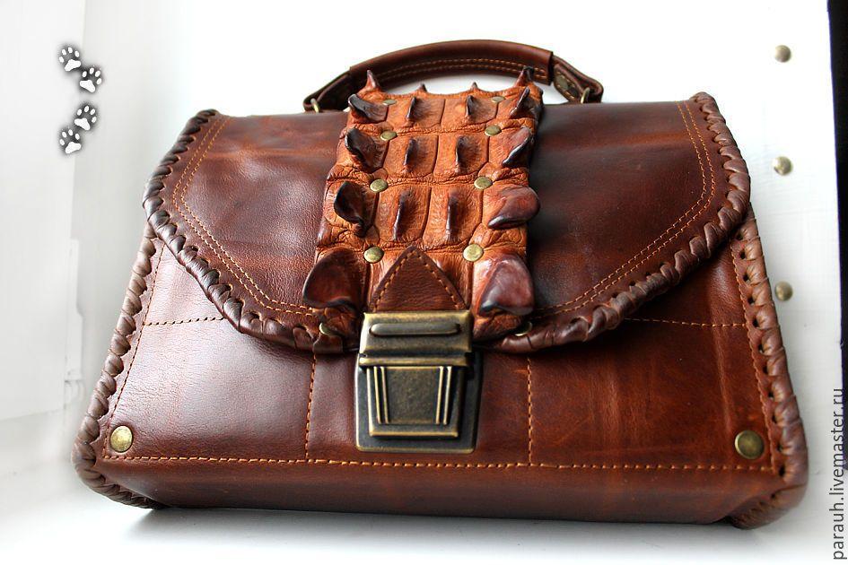 b996ddec5f34 сумка-барсетка мужская натуральная кожа крокодил ручная работа / men  handbag clutch genuine pull-up leather crocodile hornback handmade brown