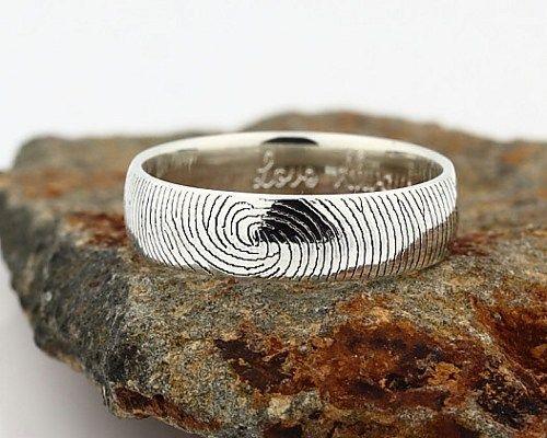 Your Custom Fingerprint Ring Sterling Silver Engraving Wedding Band 6mm Finger Print