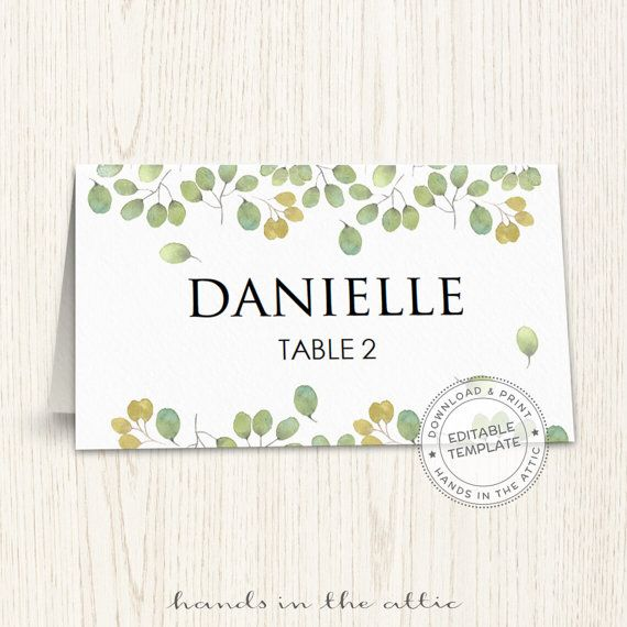 Editable seating cards template wedding guest cards printable place
