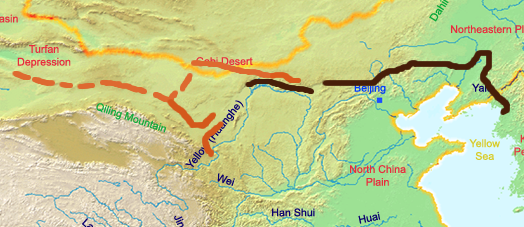 Great Wall of the Han Dynasty.  The Han, Sui, and the Northern dynasties all repaired, rebuilt, or expanded sections of the Great Wall at great cost to defend themselves against northern invaders.  The Tang and Song Dynasties did not build any walls in the region substantially.