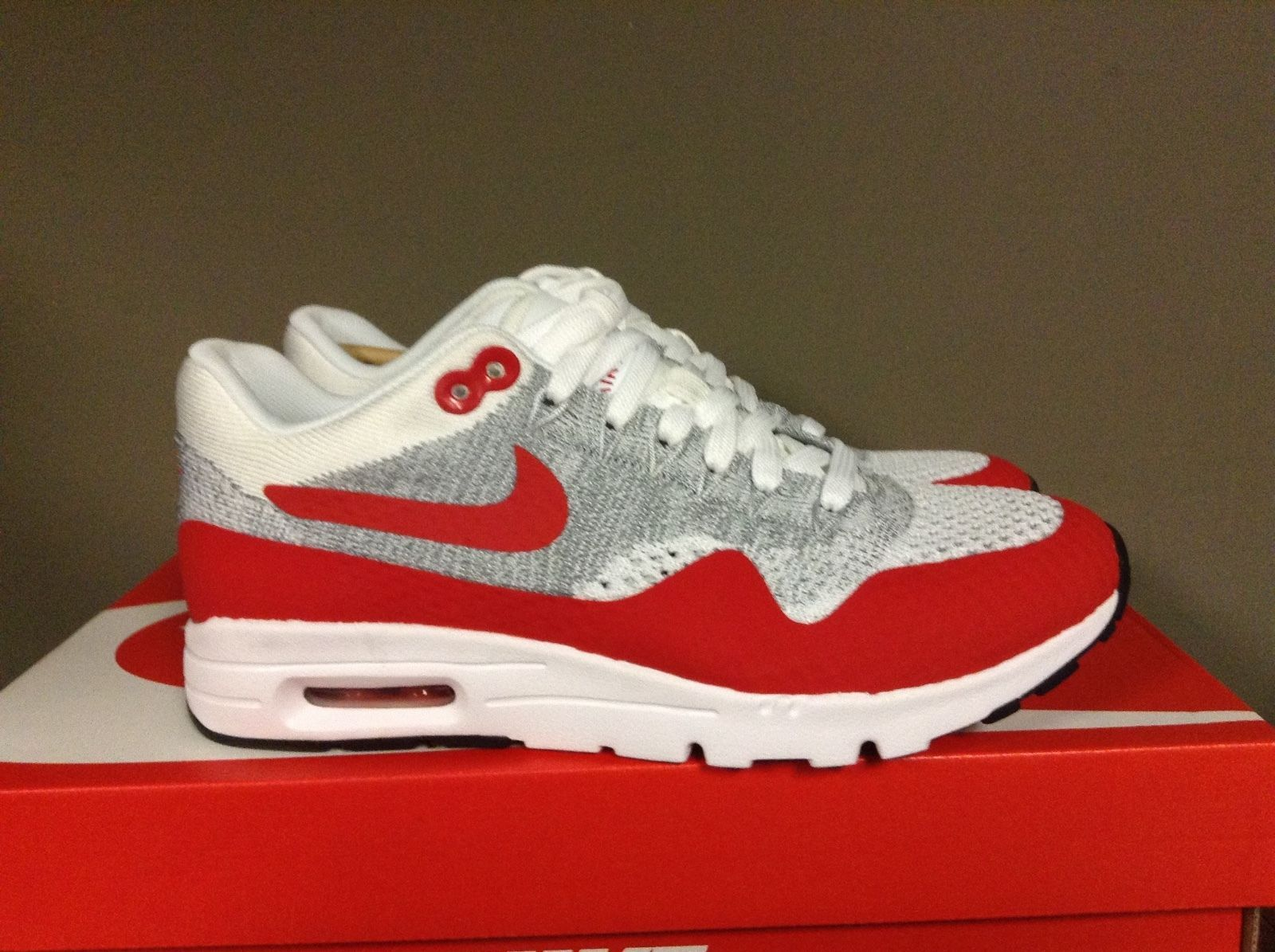 NIKE WOMENS AIR MAX 1 ULTRA FLYKNIT WHITE RED PURE PLAT 843387 101 ... 65a865afd
