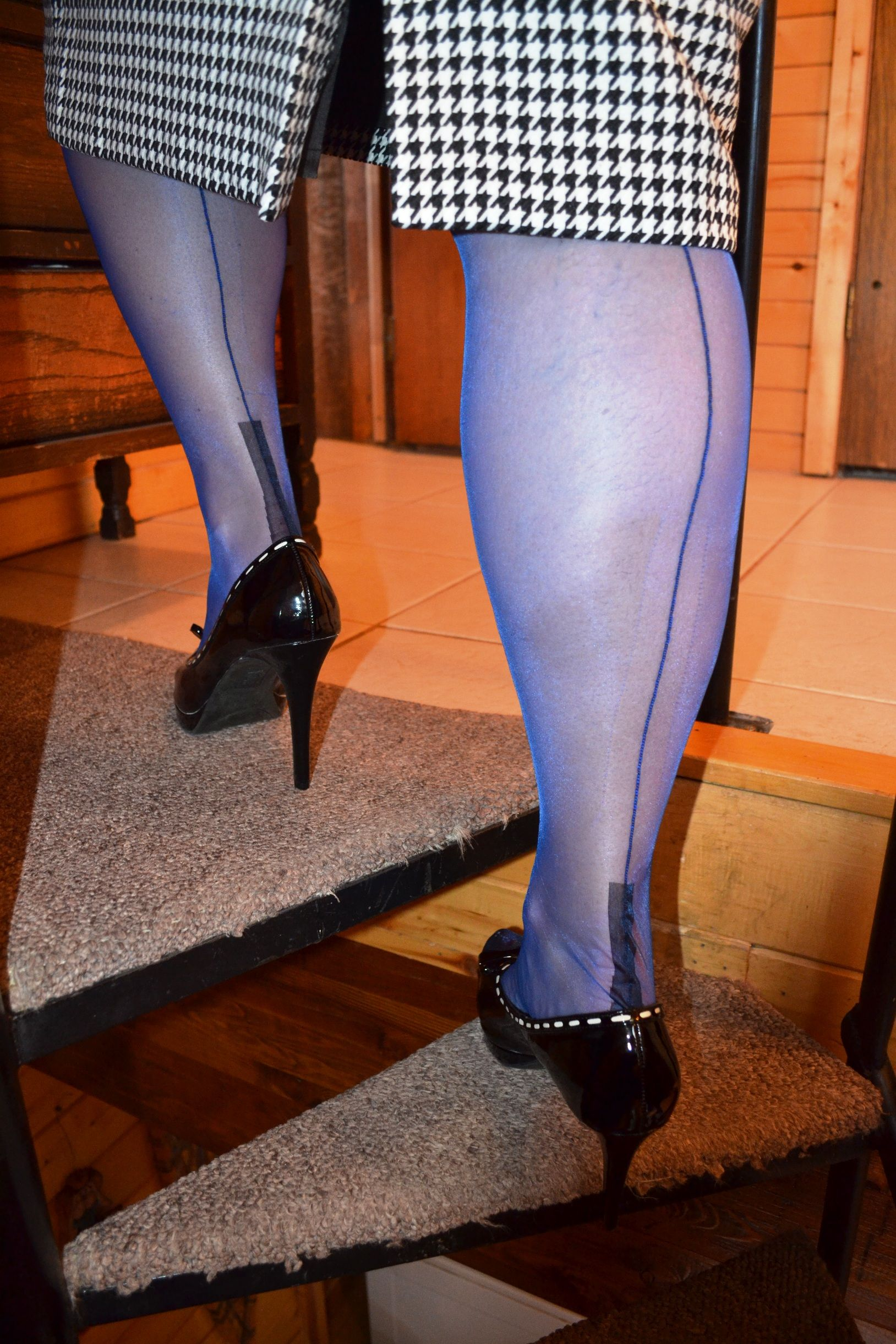 972bceb1fc3 Elegant electric blue fully fashioned stockings with a contrast heel ...