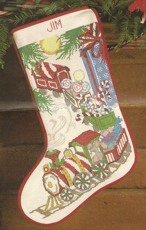 Counted cross stitch train Christmas stocking.  Candamar Designs - Fine Art…