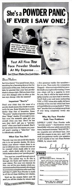 Whatever you do, don't be a powder panic! :D #1930s #vintage #ad #makeup #cosmetics