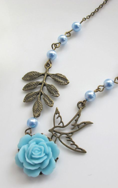 Spring Flower Necklace Bridal Wedding Style Blue