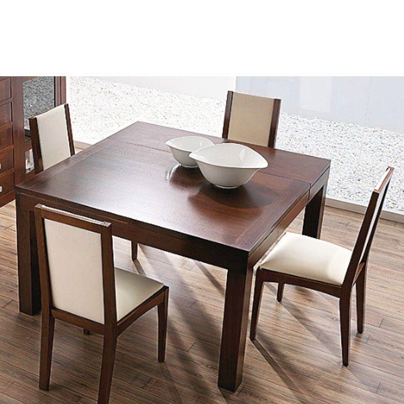 Mesa de comedor extensible cuadrada madera nogal for Mesas redondas para comedor