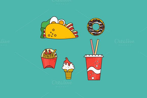 Fast food set by MarioMovement on Creative Market