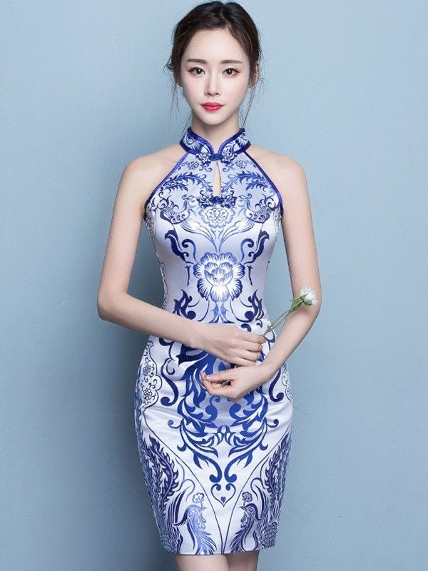 d40c83cfa488 Halter Qipao / Cheongsam Dress in Blue and White Pattern | Qipao ...
