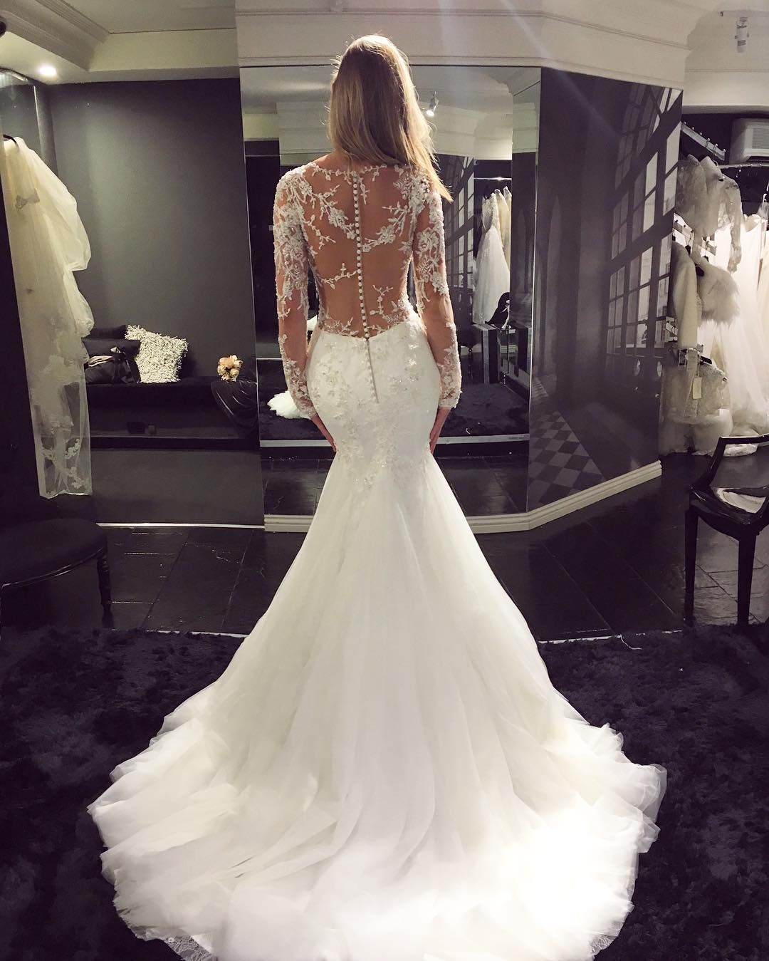 V-Neck Lace Appliqués Mermaid Wedding Dress With Long Sheer Sleeves 7