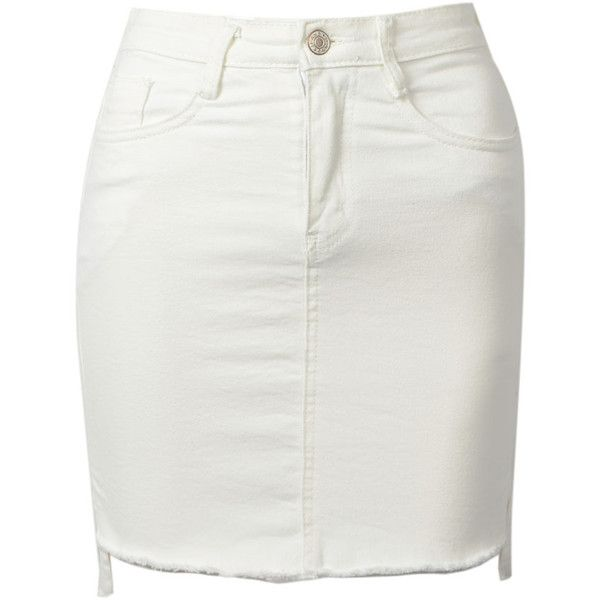 Choies White Denim High Waist Dipped Hem Pencil Skirt (77 BRL) ❤ liked on Polyvore featuring skirts, bottoms, white, white knee length pencil skirt, high-waisted pencil skirts, white high low skirt, hi low skirt and white pencil skirt