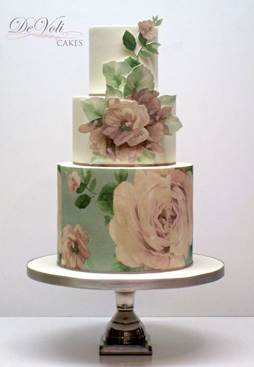 Pretty This Sweet Vintage Style Cake With Wafer Paper Tier And
