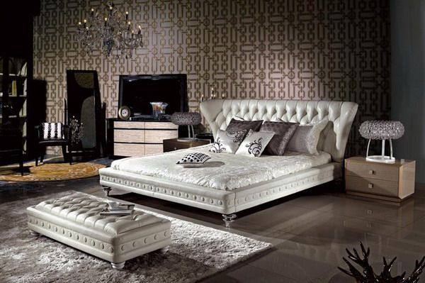 Luxurious Master Bedroom Ideas with Leather Bed Furniture ...