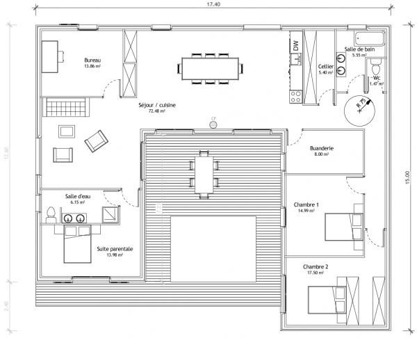 Maison en u avec patio plans maisons pinterest for Plans maisons en u