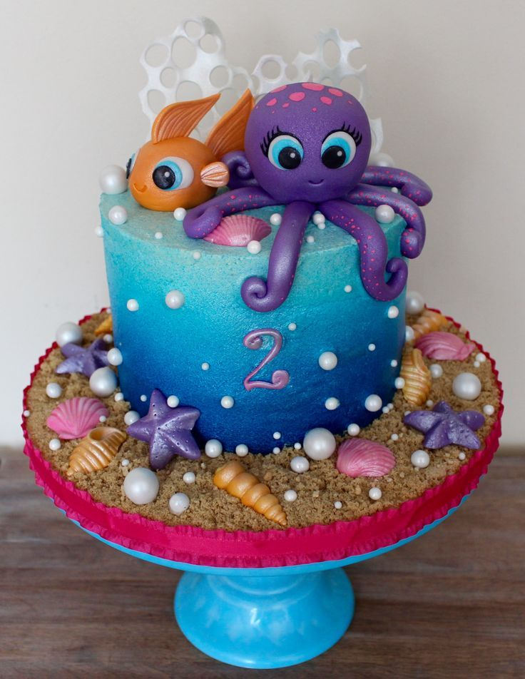 Admirable Under The Sea Birthday Cake Blue Sea Ocean Ombre Airbrush On Personalised Birthday Cards Sponlily Jamesorg