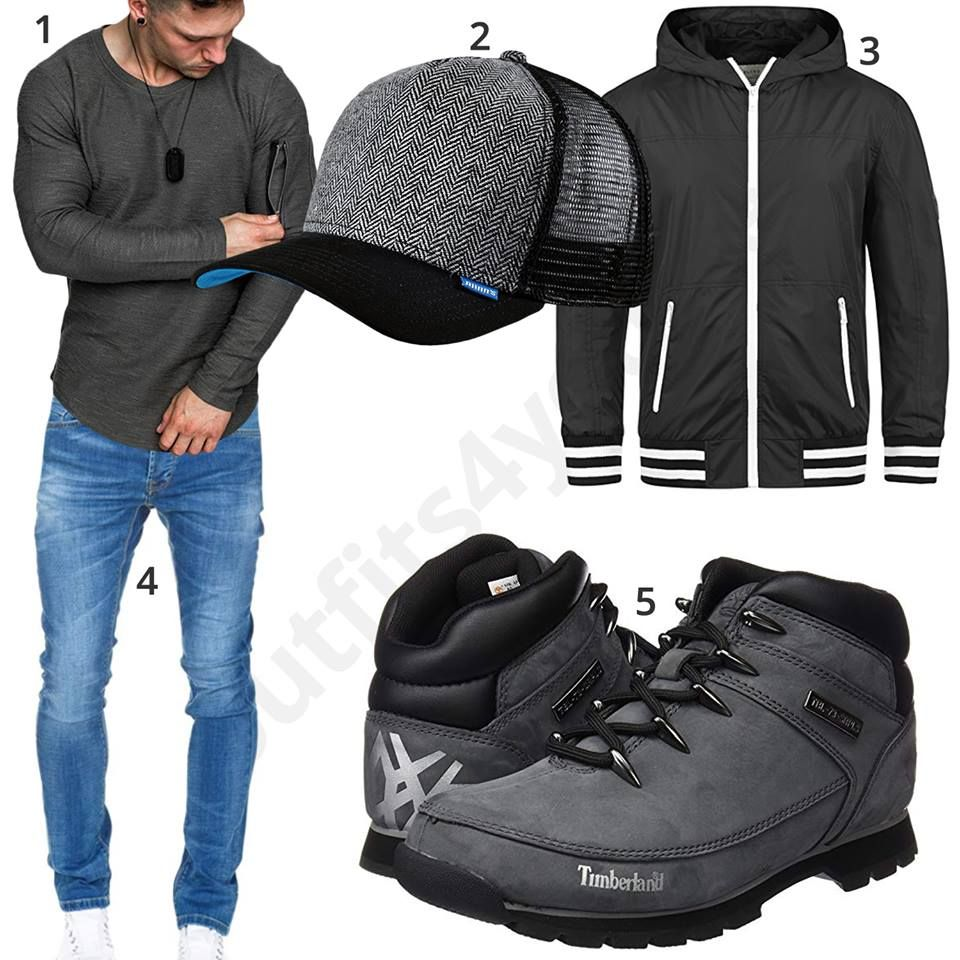 cheap for discount 7b2fe 3108a Grau-Schwarzes Herrenoutfit mit Timberland Boots | Riding ...