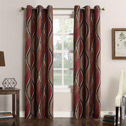 Intersect Geometric Semi Sheer Grommet Single Curtain Panel Grommet Curtains Curtain Texture Panel Curtains