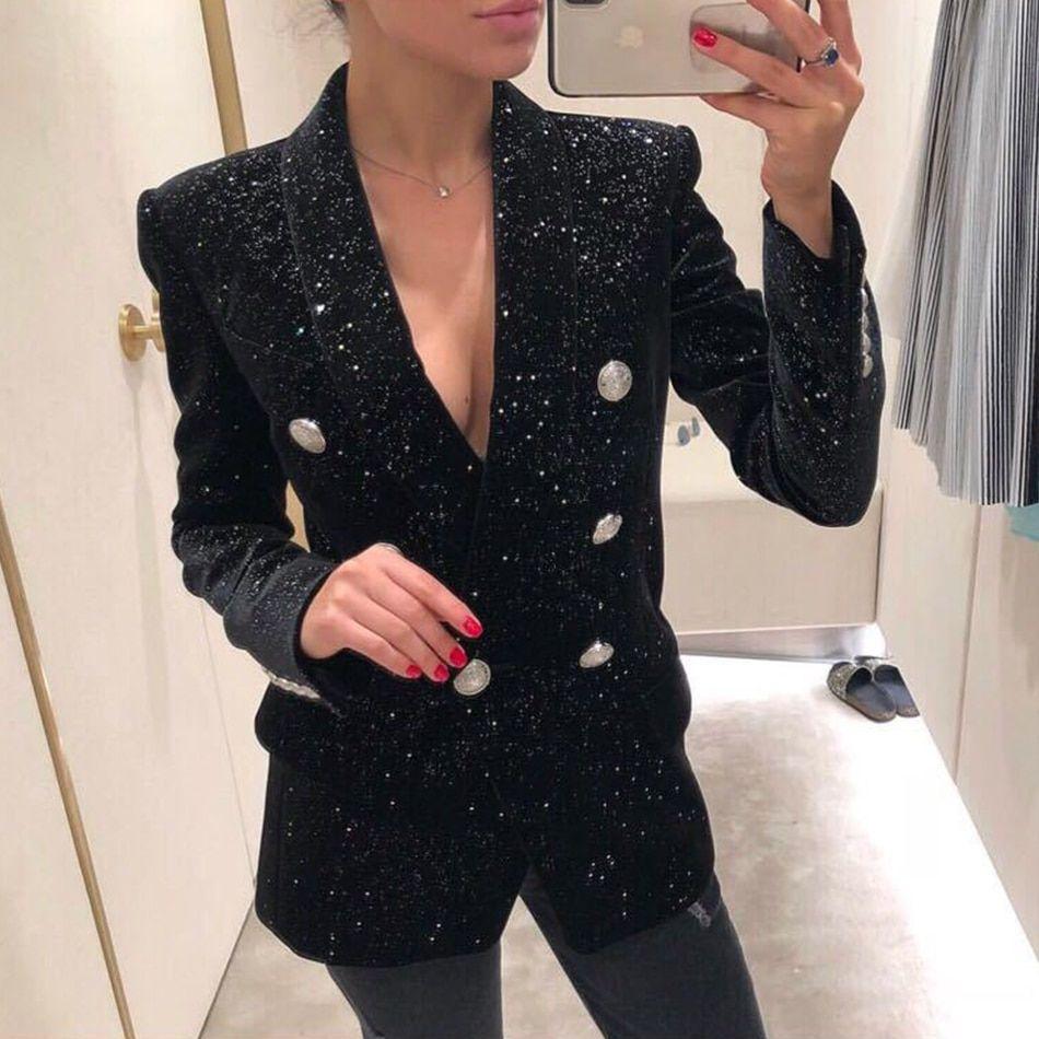 16e9c15f55f Autumn Witer New Black Blazer Women Double Silver Button Shiny Starry  Sequins Velvet Suit Jacket Female Office Blazers  blazers  promdresses   weddingdresses ...