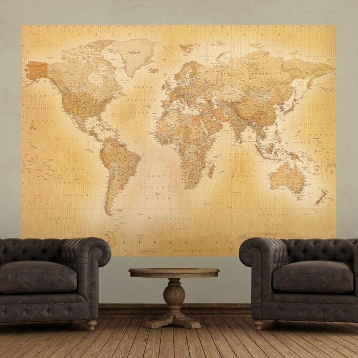 weltkarte wand wohnzimmer wanddeko wandtapete wandmalerei - orange wand wohnzimmer