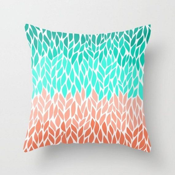 coral teal mint pillow case cover