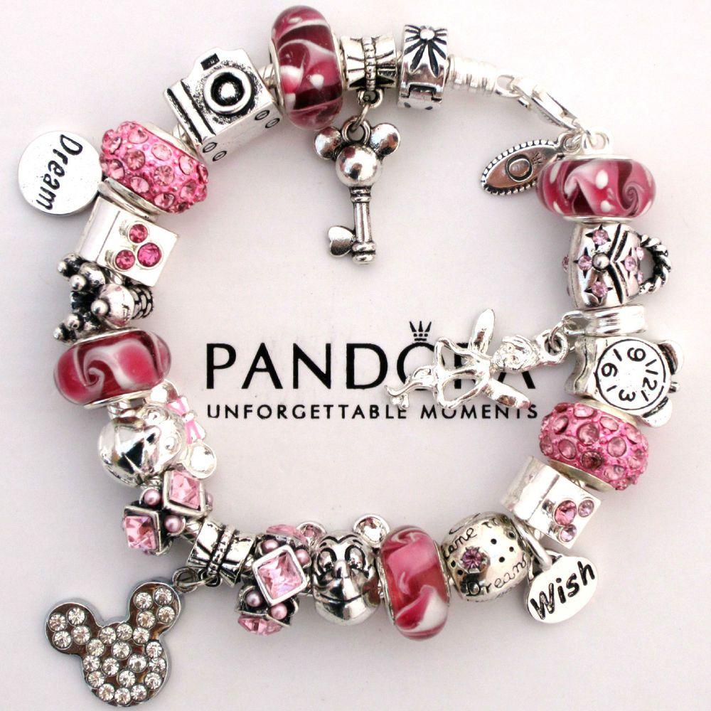 3bb028ea098a Auténtica Pandora Pulsera Rosa Love Mickey Mouse deseo De Cristal De ...