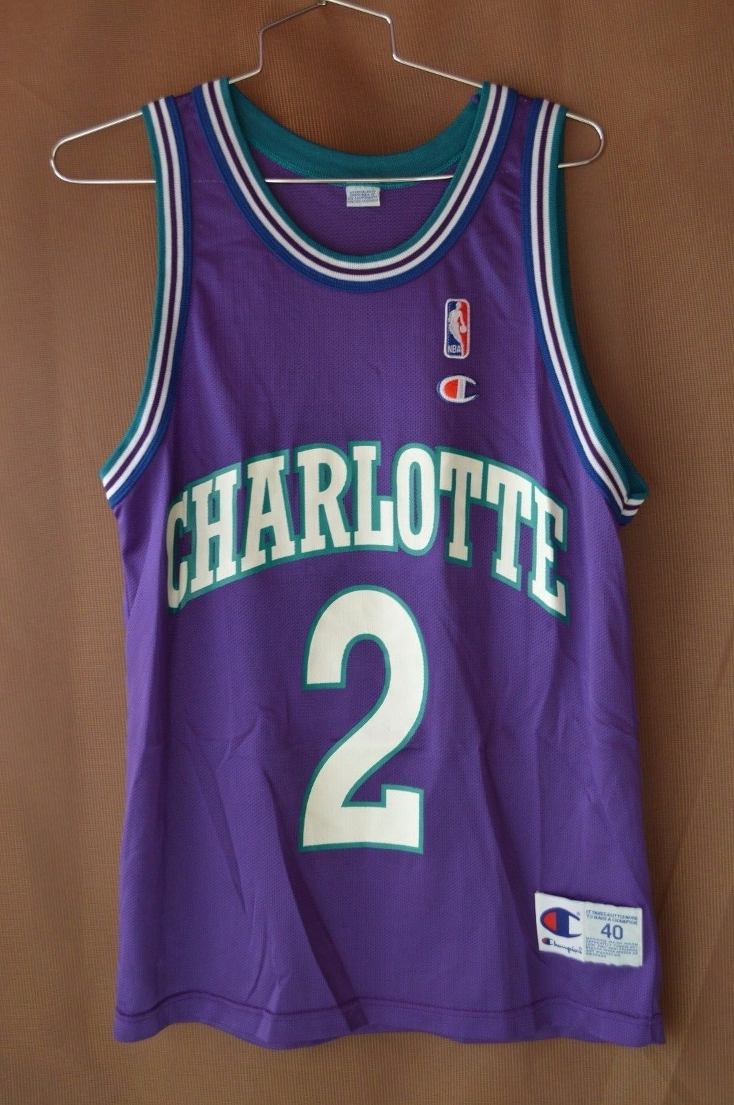 Rare Vintage 90s Champion NBA Charlotte Hornets Larry Johnson 2 Jersey Men  40 M please retweet 3f82ce6dc