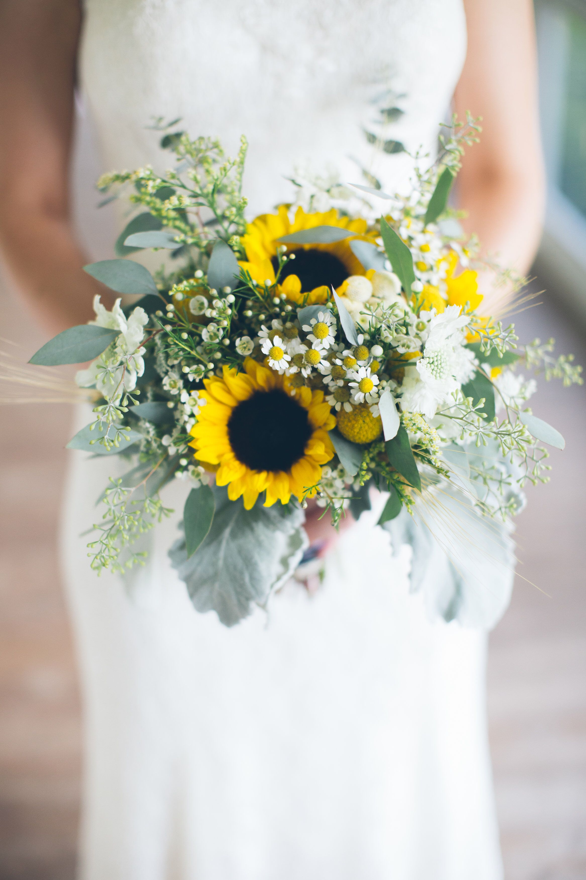 Bridal bouquets Sunflower wedding. Sunflower and wheat. Dusty miller ...