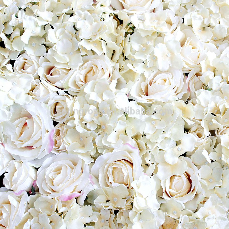 2018 Fashion Champagne Wedding Rose Hydrangea Flower Wall Mat For Party Stage Backdrop Decorative Flore Factory Rose Wedding Hydrangea Flower Champagne Wedding
