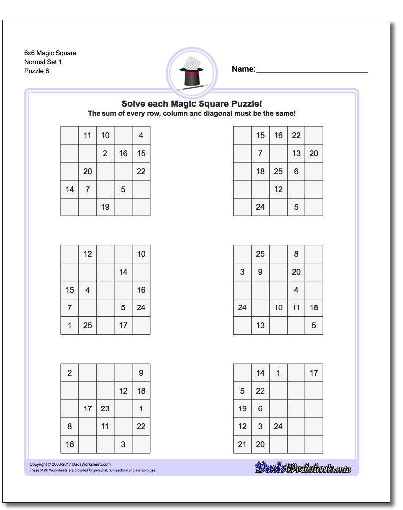6x6 Magic Square Normal Set 1 Worksheet #Magic #Square #Worksheet