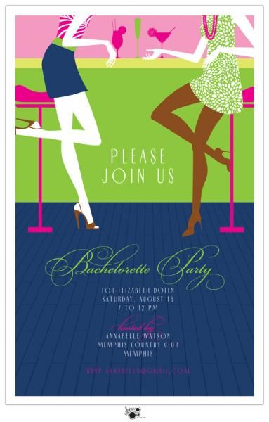 bachelorette party invites available on maureen hall stationery and