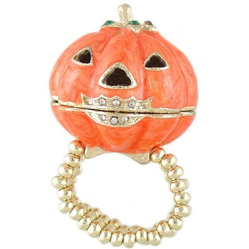 Adorable Orange Jack-O-Lantern Halloween Bling Locket Ring fits Size 6 - 12 Heirloom Finds. $8.99. Ring stretches to fit sizes 6 - 12. The funny 3-D Pumpkin is a locket that opens. Cutest Halloween ring ever. Arrives gift boxed and ready to give. Jack O Lantern measures just over 1 inch in diameter. Save 59% Off!