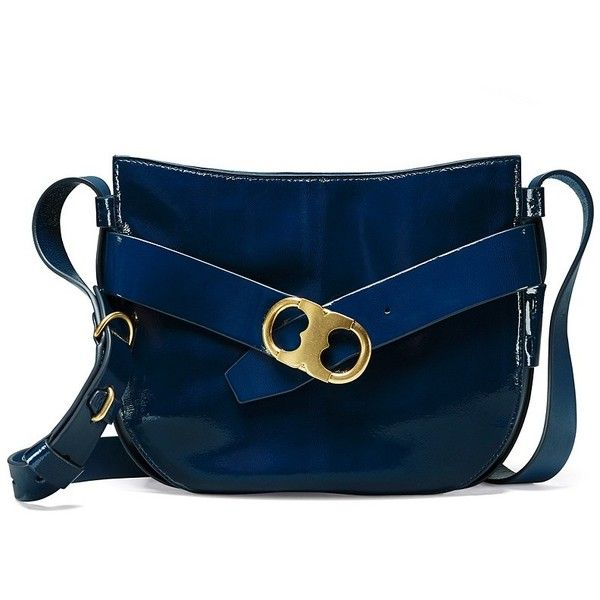 5584858f2 Tory Burch Gemini Link Patent Cross-Body ($495) ❤ liked on Polyvore  featuring bags, handbags, shoulder bags, man bag, blue crossbody purse,  blue crossbody, ...