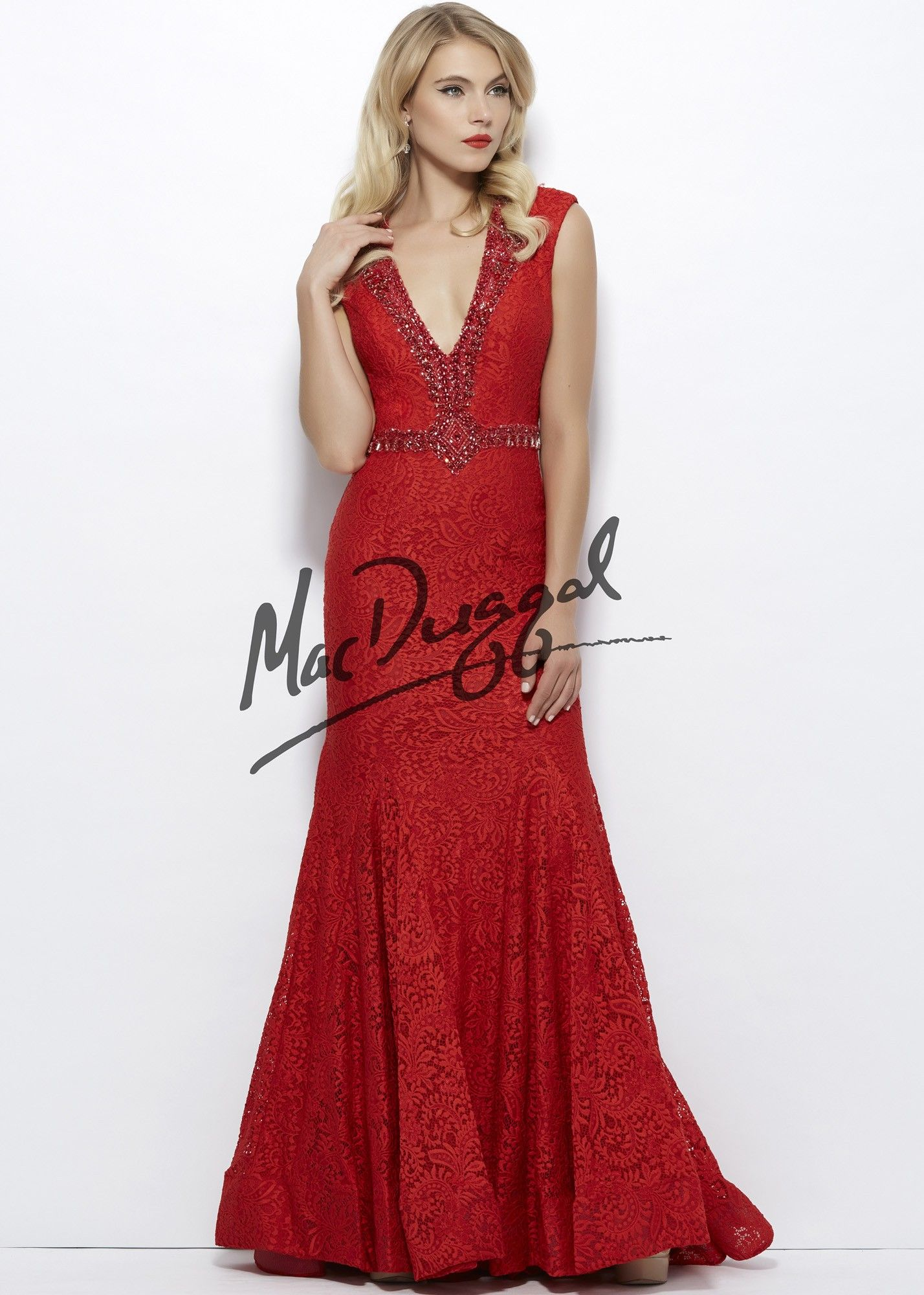 68c3544f0d Mac Duggal 61930 V-Neck Lace Gown