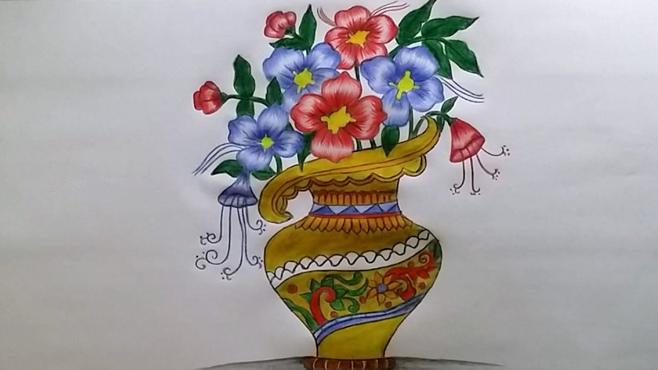 How To Draw Flower Vase With Drawing Technique Step By Step Flower Drawing Flower Vase Drawing Unique Flower Vases