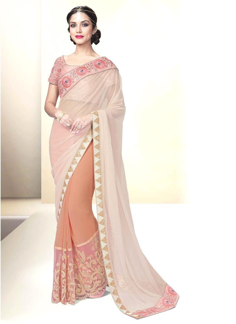 Mod fancy fabric peach designer saree designer sarees pinterest