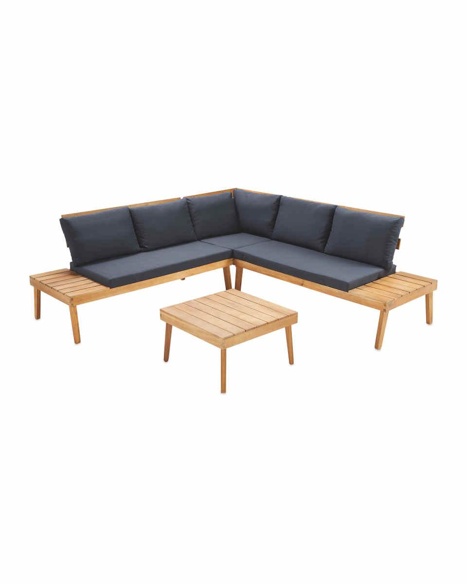 Large Wooden Sofa & Table Set  Wooden sofa, Corner sofa wooden
