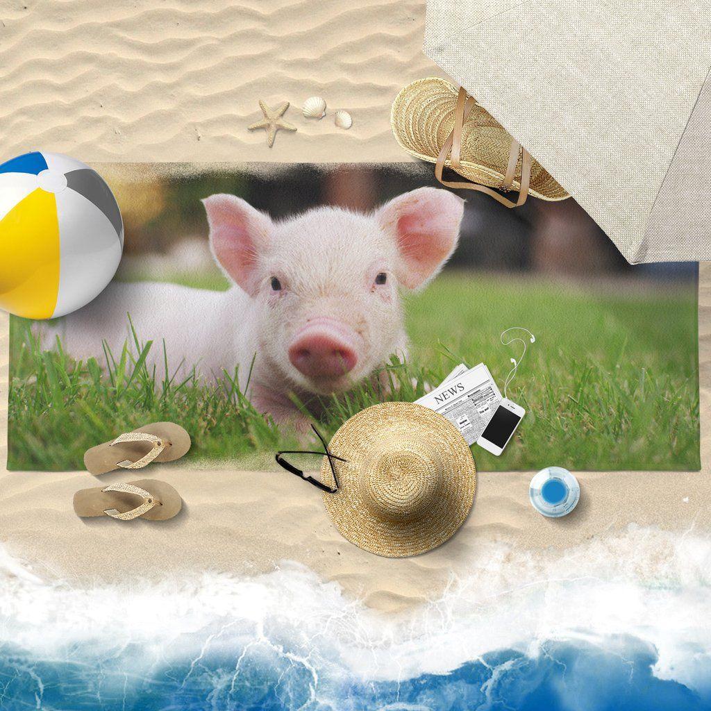 Pig Printed Towel 07 Beach 30x60
